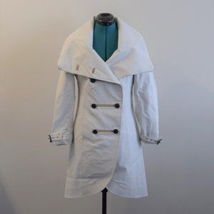 Off-White Buttoned Trench Peacoat Leather Coat